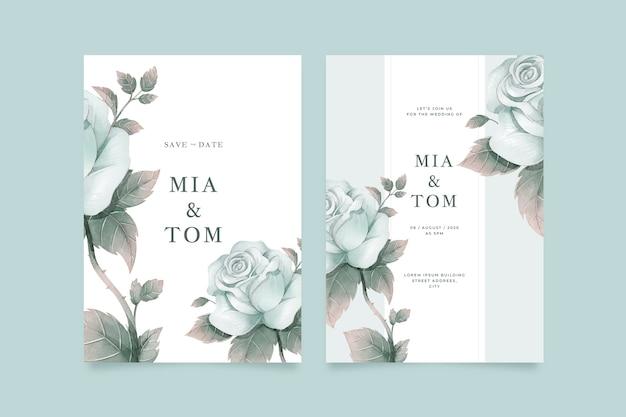 Modèle d'invitation de mariage de grande fleur