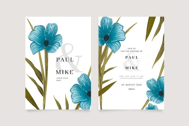 Modèle d'invitation de mariage avec grande fleur