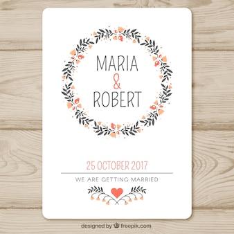 Modèle d'invitation de mariage avec guirlande florale