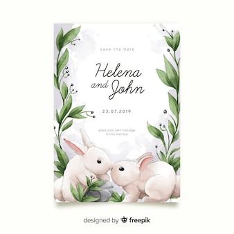 Modèle d'invitation de mariage lapins aquarelle