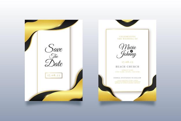 Modèle d'invitation de mariage de luxe doré dégradé avec photo