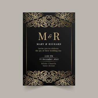 Modèle d'invitation de mariage de luxe doré dégradé