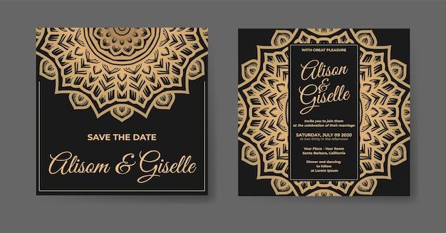 Modèle d'invitation de mariage de luxe en or avec ornement de décoration de mandala