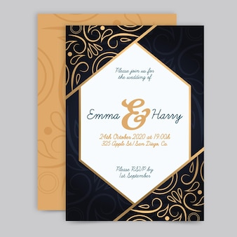 Modèle d'invitation de mariage de luxe