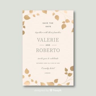 Modèle d'invitation de mariage magnifique au design plat