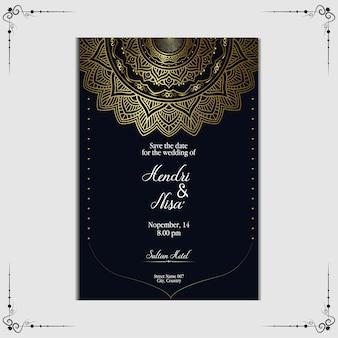 Modèle d'invitation de mariage mandala de luxe.