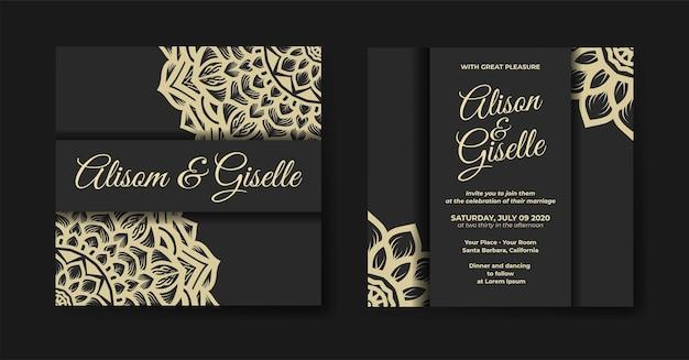 Modèle d'invitation de mariage mandala de luxe