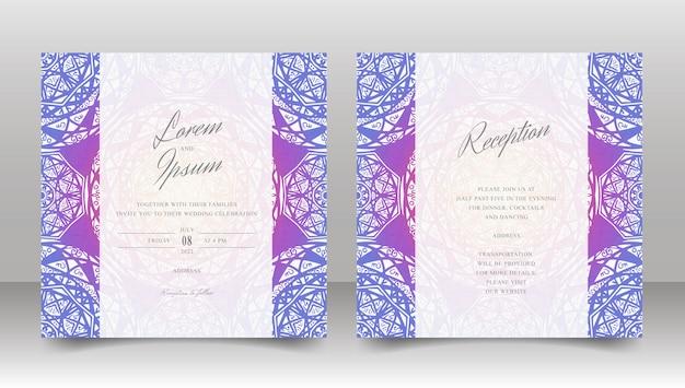 Modèle d'invitation de mariage avec mandala