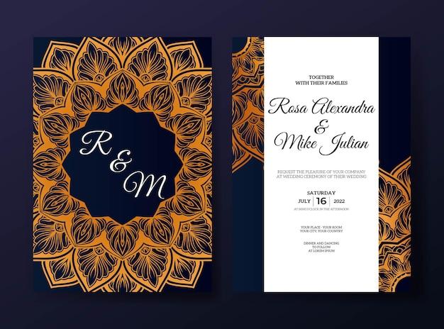 Modèle d'invitation de mariage mandala