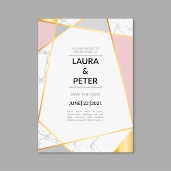 Modèle d'invitation de mariage en marbre élégant avec des détails dorés