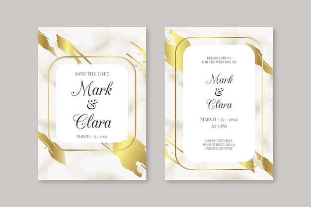 Modèle d'invitation de mariage en marbre élégant