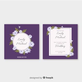 Modèle d'invitation de mariage de marguerites
