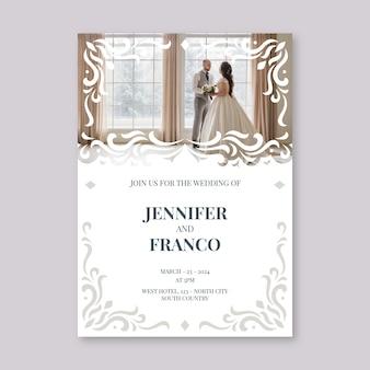 Modèle d'invitation de mariage avec la mariée et le marié