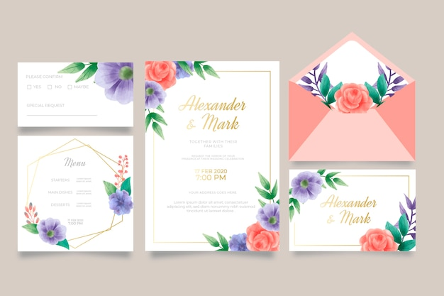 Modèle d'invitation de mariage et menu