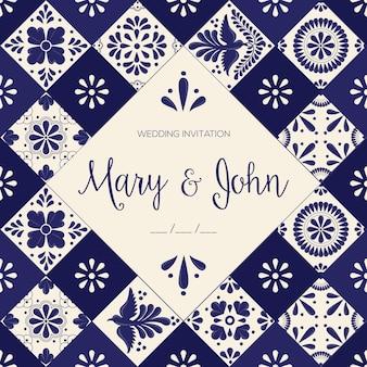 Modèle d'invitation de mariage mexicain talavera tiles