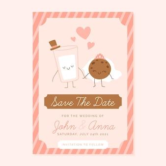 Modèle d'invitation de mariage mignon