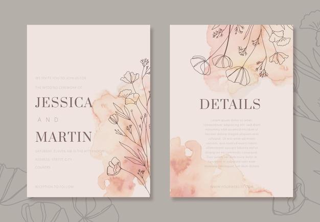 Modèle d'invitation de mariage minimal aquarelle peint à la main