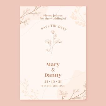 Modèle d'invitation de mariage minimal dessiné à la main