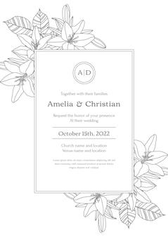 Modèle D'invitation De Mariage Minimal Dessiné à La Main Vecteur gratuit