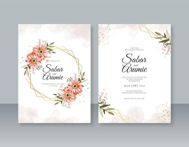 Modèle d'invitation de mariage minimaliste avec cadre géométrique et peinture à l'aquarelle