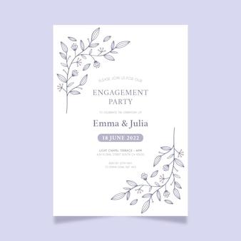 Modèle d'invitation de mariage minimaliste dessiné à la main