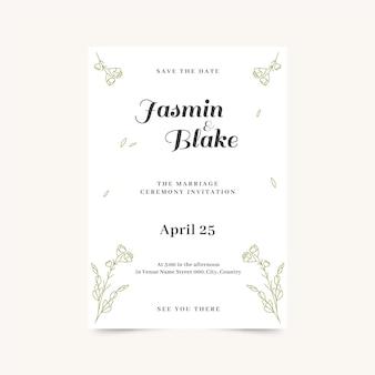 Modèle d'invitation de mariage minimaliste organique