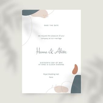 Modèle d'invitation de mariage minimaliste plat organique