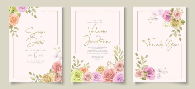 Modèle d'invitation de mariage moderne avec un design floral coloré doux