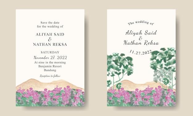 Modèle d'invitation de mariage avec des montagnes aquarelles et fond de paysage d'arbres