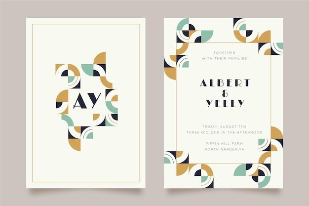 Modèle d'invitation de mariage en mosaïque plate