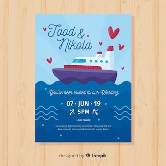 Modèle d'invitation de mariage navire dessiné à la main