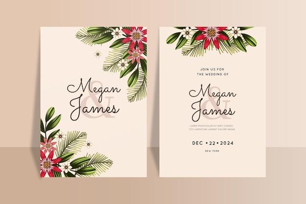 Modèle d'invitation de mariage de noël aquarelle