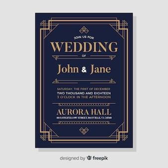 Modèle d'invitation de mariage noir élégant dans un style art déco