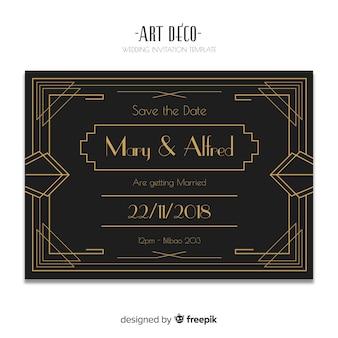 Modèle d'invitation de mariage noir élégant en design art déco