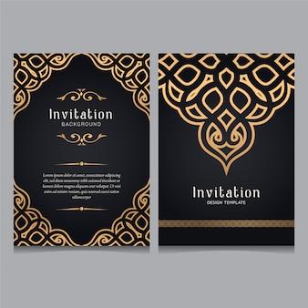 Modèle d'invitation de mariage d'ornement de luxe en or, ornements d'invitation de carte de voeux.
