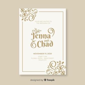 Modèle d'invitation de mariage d'ornement vintage