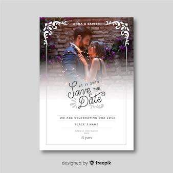 Modèle d'invitation de mariage ornemental magnifique avec photo