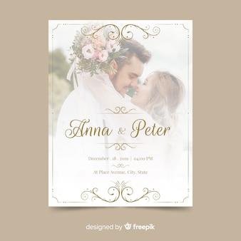 Modèle d'invitation de mariage ornemental avec photo