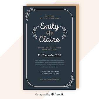 Modèle d'invitation de mariage ornemental rétro