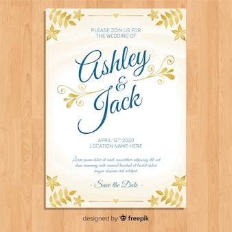 Modèle d'invitation de mariage avec des ornements élégants