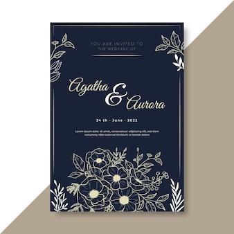 Modèle d'invitation de mariage avec ornements floraux