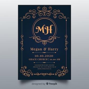 Modèle d'invitation de mariage d'ornements
