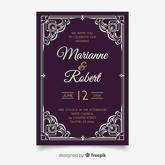 Modèle d'invitation de mariage avec des ornements