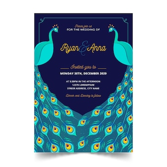 Modèle d'invitation de mariage de paons élégants