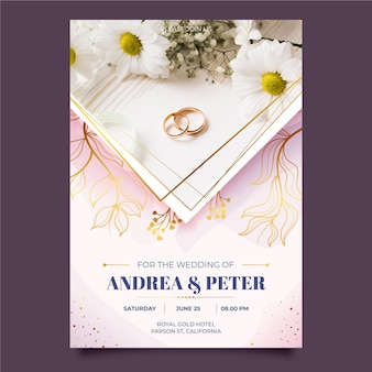 Modèle d'invitation de mariage avec photo anneaux dorés