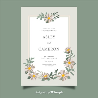 Modèle d'invitation de mariage plat floral