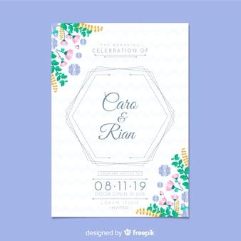 Modèle d'invitation de mariage plat papeterie