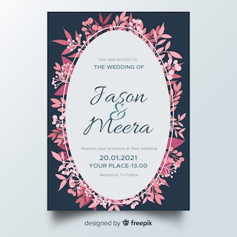 Modèle d'invitation de mariage plat