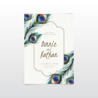 Modèle d'invitation de mariage avec des plumes de paon