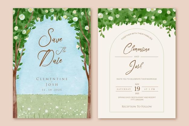Modèle d'invitation de mariage de porte de fleur de rosier blanc dessiné à la main